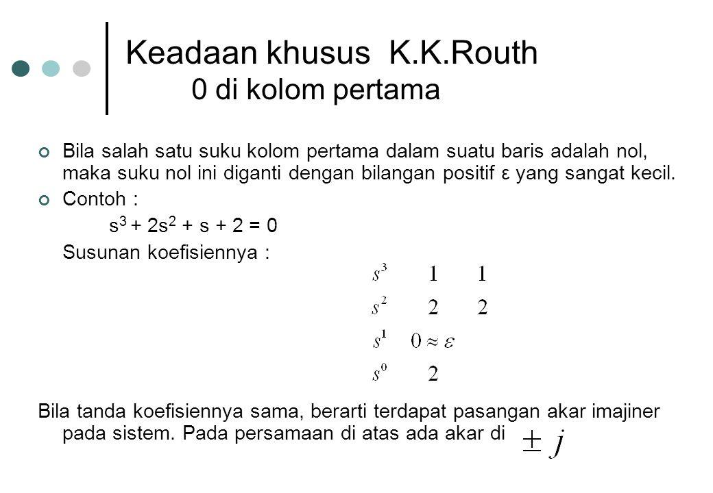 Keadaan khusus K.K.Routh 0 di kolom pertama Bila salah satu suku kolom pertama dalam suatu baris adalah nol, maka suku nol ini diganti dengan bilangan