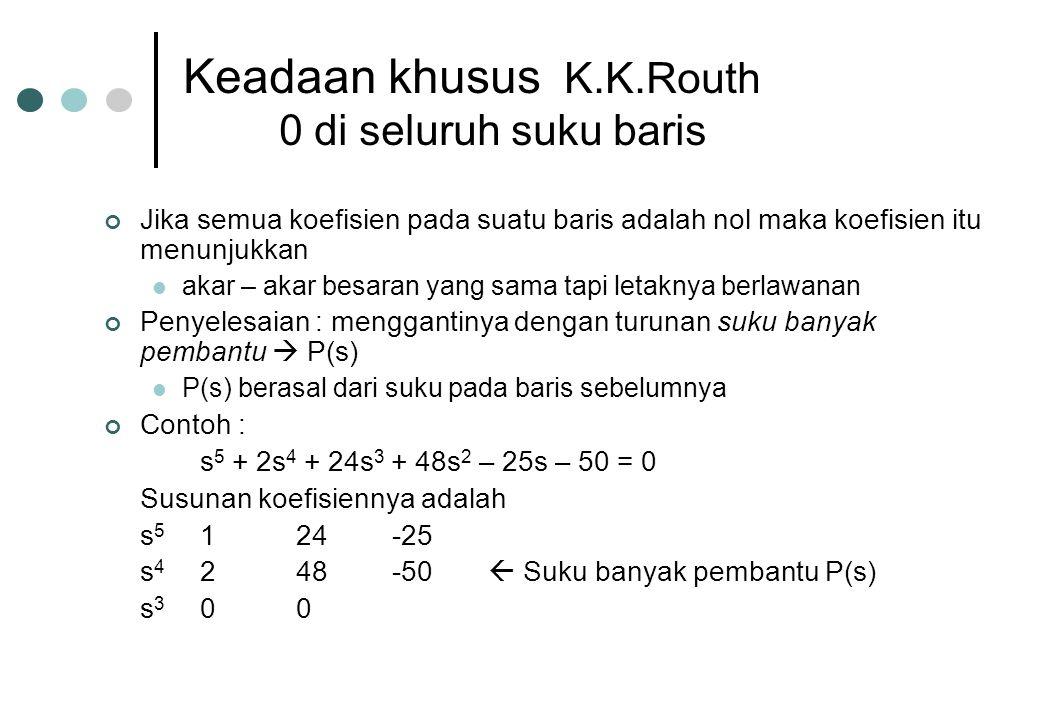 Keadaan khusus K.K.Routh 0 di seluruh suku baris Jika semua koefisien pada suatu baris adalah nol maka koefisien itu menunjukkan akar – akar besaran y