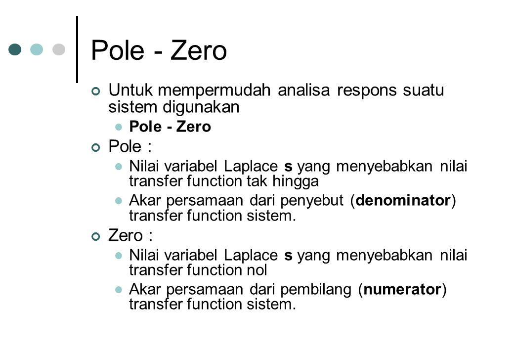 Pole - Zero Untuk mempermudah analisa respons suatu sistem digunakan Pole - Zero Pole : Nilai variabel Laplace s yang menyebabkan nilai transfer funct