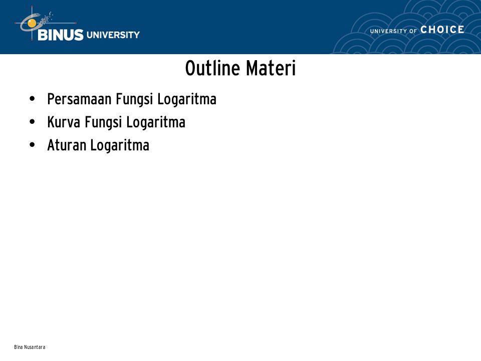 Bina Nusantara Persamaan Fungsi Logaritma Kurva Fungsi Logaritma Aturan Logaritma Outline Materi