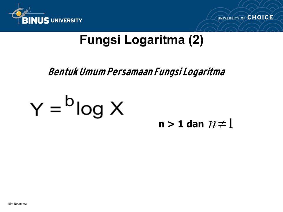 Bina Nusantara Fungsi Logaritma (2) Bentuk Umum Persamaan Fungsi Logaritma n > 1 dan