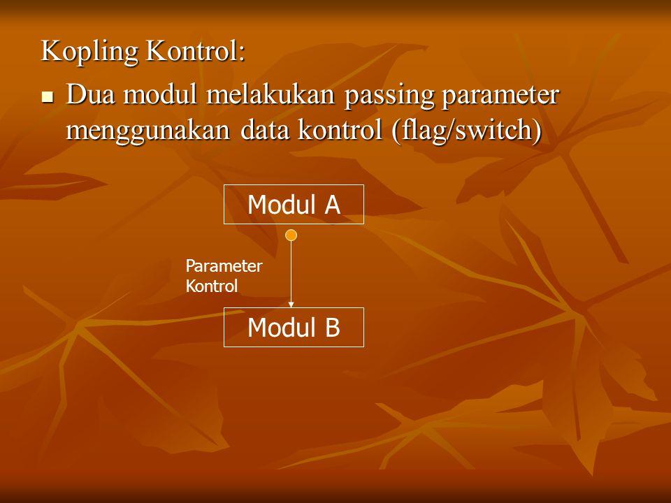 Kopling Kontrol: Dua modul melakukan passing parameter menggunakan data kontrol (flag/switch) Dua modul melakukan passing parameter menggunakan data kontrol (flag/switch) Modul A Modul B Parameter Kontrol