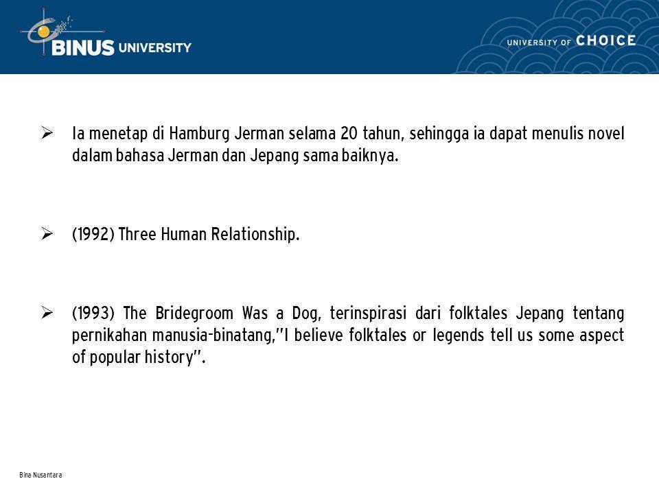 Bina Nusantara  Penghargaan: Gunzo Prize (1991).Akutagawa Prize (1993).