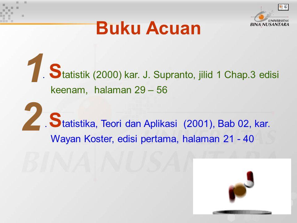 Buku Acuan. S tatistik (2000) kar. J. Supranto, jilid 1 Chap.3 edisi keenam, halaman 29 – 56.