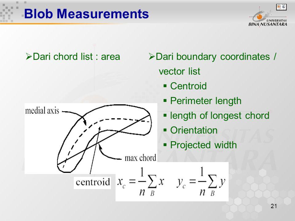 21 Blob Measurements  Dari chord list : area  Dari boundary coordinates / vector list  Centroid  Perimeter length  length of longest chord  Orientation  Projected width