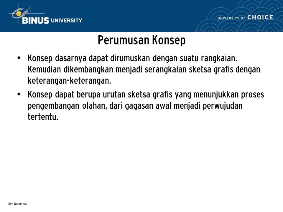 Bina Nusantara Perumusan Konsep Konsep dasarnya dapat dirumuskan dengan suatu rangkaian.