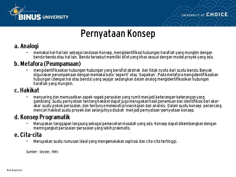 Bina Nusantara Pernyataan Konsep a. Analogi – memakai hal-hal lain sebagai landasan Konsep, mengidentifikasi hubungan harafiah yang mungkin dengan ben