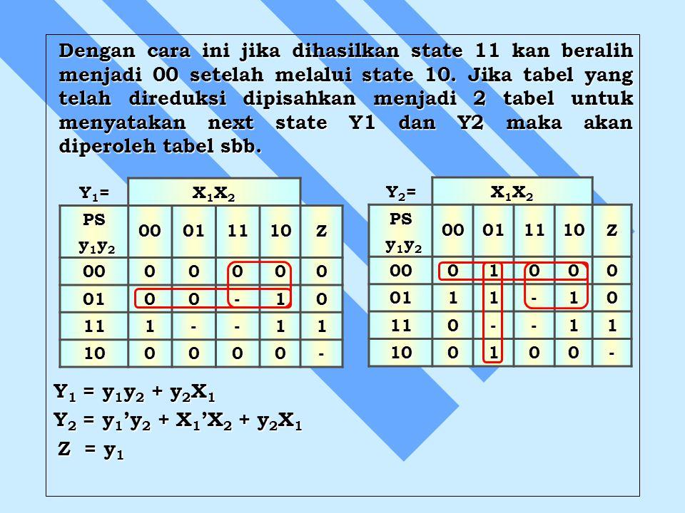 Dengan cara ini jika dihasilkan state 11 kan beralih menjadi 00 setelah melalui state 10. Jika tabel yang telah direduksi dipisahkan menjadi 2 tabel u