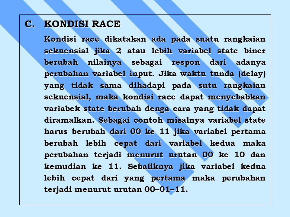 C.KONDISI RACE Kondisi race dikatakan ada pada suatu rangkaian sekuensial jika 2 atau lebih variabel state biner berubah nilainya sebagai respon dari