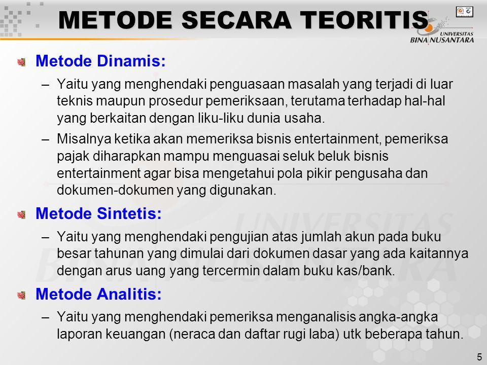5 METODE SECARA TEORITIS Metode Dinamis: –Yaitu yang menghendaki penguasaan masalah yang terjadi di luar teknis maupun prosedur pemeriksaan, terutama
