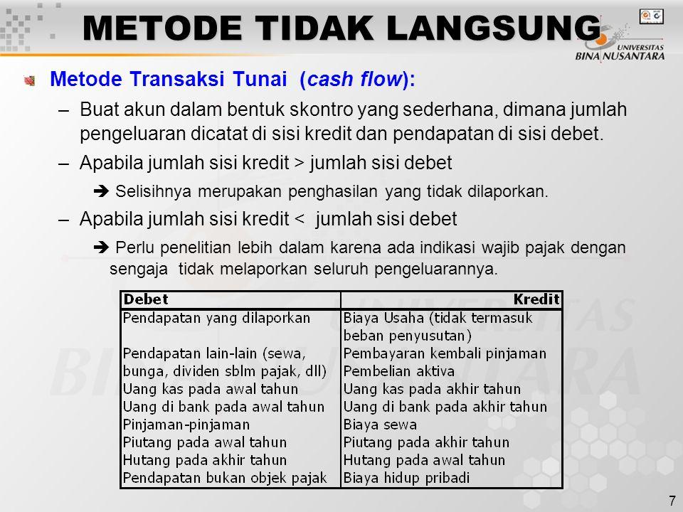 7 METODE TIDAK LANGSUNG Metode Transaksi Tunai (cash flow): –Buat akun dalam bentuk skontro yang sederhana, dimana jumlah pengeluaran dicatat di sisi
