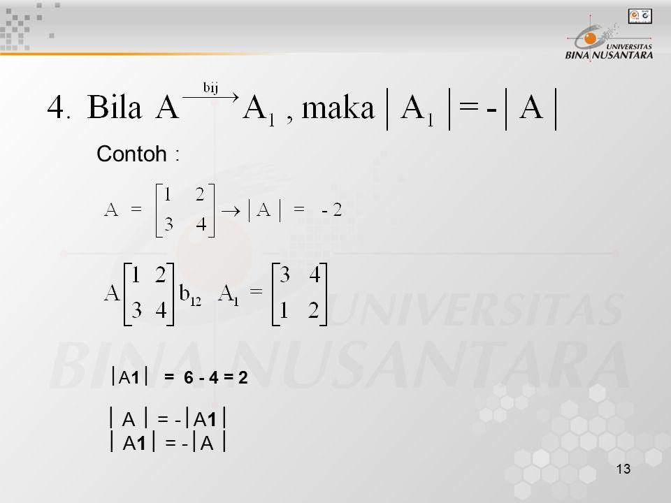 13 Contoh :  A1  = 6 - 4 = 2  A  = -  A1   A1  = -  A 