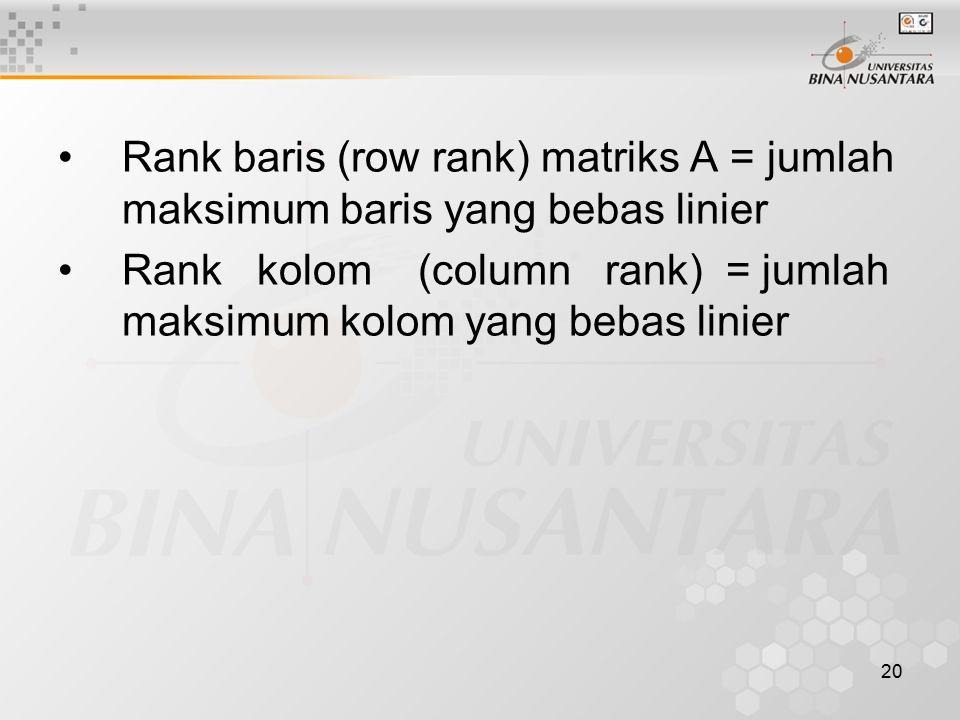 20 Rank baris (row rank) matriks A = jumlah maksimum baris yang bebas linier Rank kolom (column rank) = jumlah maksimum kolom yang bebas linier