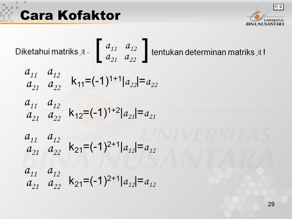 29 Cara Kofaktor [ Diketahui matriks A - ] a 11 a 12 a 21 a 22 tentukan determinan matriks A ! a 11 a 12 a 21 a 22 k 11 =(-1) 1+1 | a 22 |= a 22 a 11