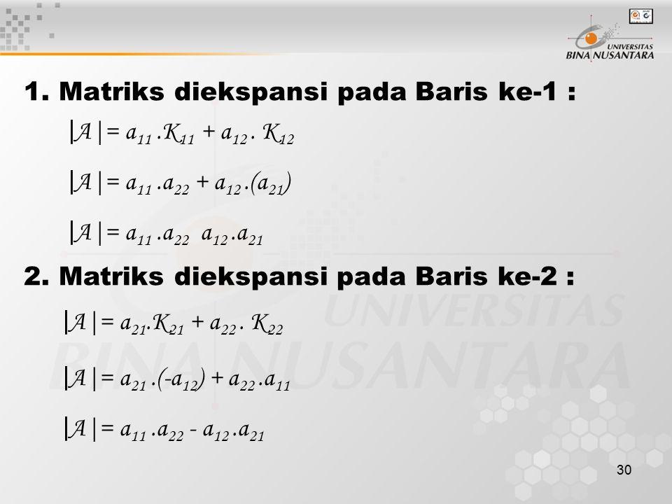 30 1. Matriks diekspansi pada Baris ke-1 : | A|= a 11.K 11 + a 12. K 12 | A|= a 11.a 22 + a 12.(a 21 ) | A|= a 11.a 22 a 12.a 21 2. Matriks diekspansi