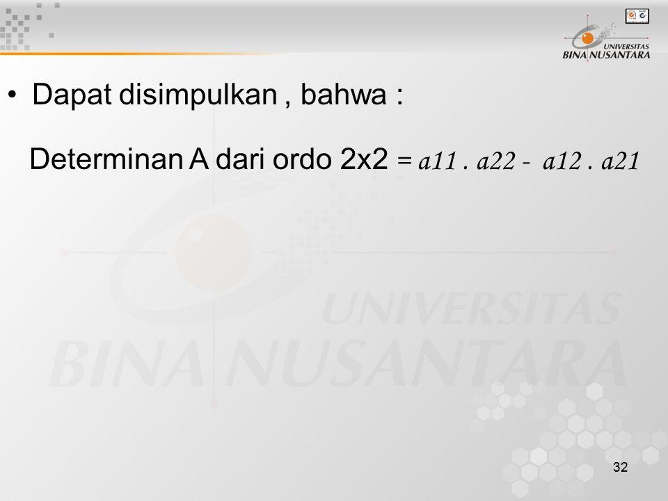 32 Dapat disimpulkan, bahwa : Determinan A dari ordo 2x2 = a11. a22 - a12. a21