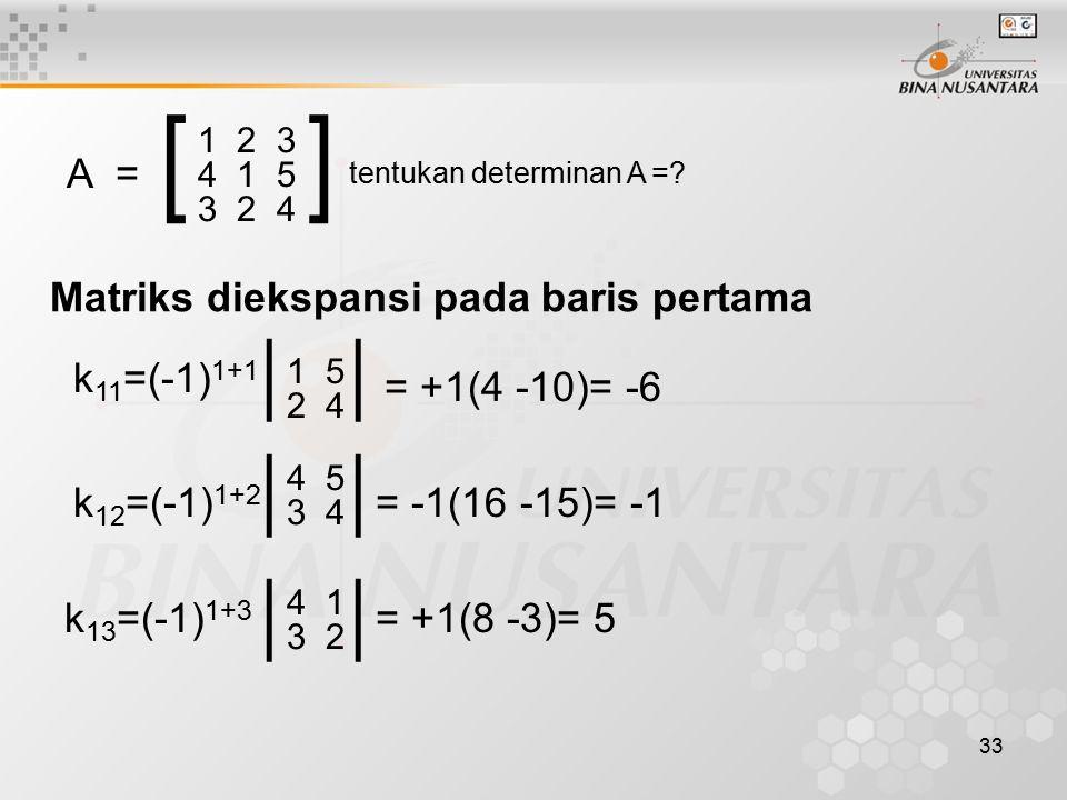 33 A = [] 1 2 3 4 1 5 3 2 4 tentukan determinan A =? Matriks diekspansi pada baris pertama k 11 =(-1) 1+1 || 1 5 2 4 = +1(4 -10)= -6 k 12 =(-1) 1+2 |