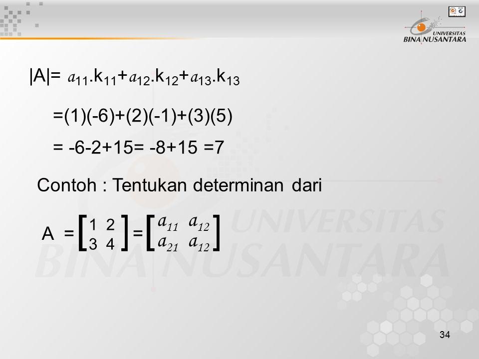 34 |A|= a 11.k 11 + a 12.k 12 + a 13.k 13 =(1)(-6)+(2)(-1)+(3)(5) = -6-2+15= -8+15 =7 Contoh : Tentukan determinan dari A = [ ] 1 2 3 4 = [ a 11 a 12
