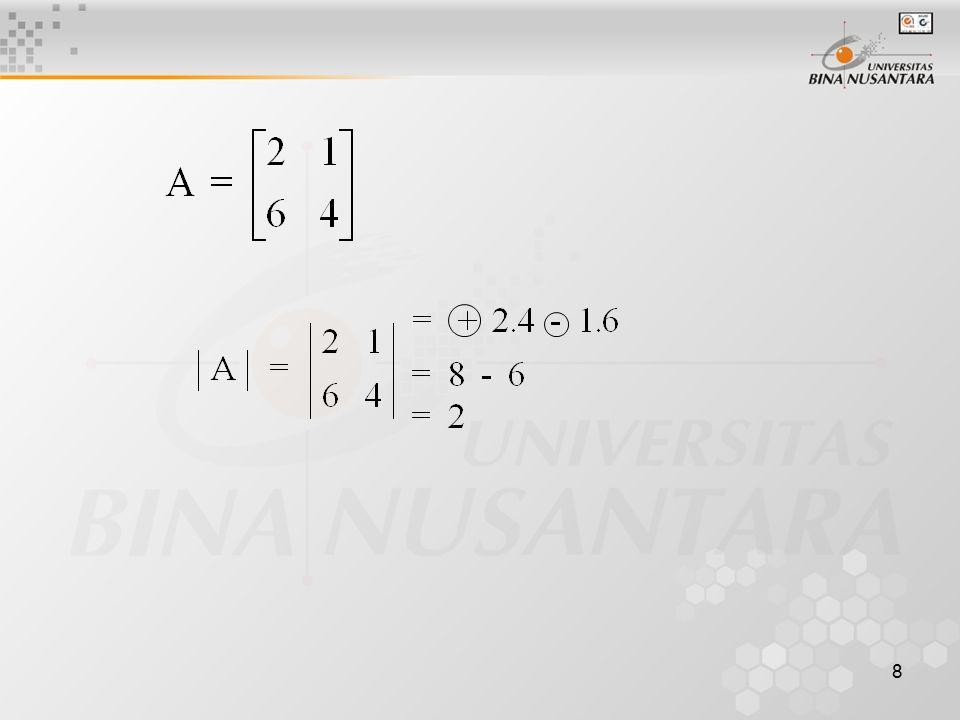 9 Sifat-Sifat Determinan Mencari determinan dengan sifat-sifatnya Bila ada baris/kolom yang semua unsurnya nol, maka determinan-nya = 0 Contoh : a) b)