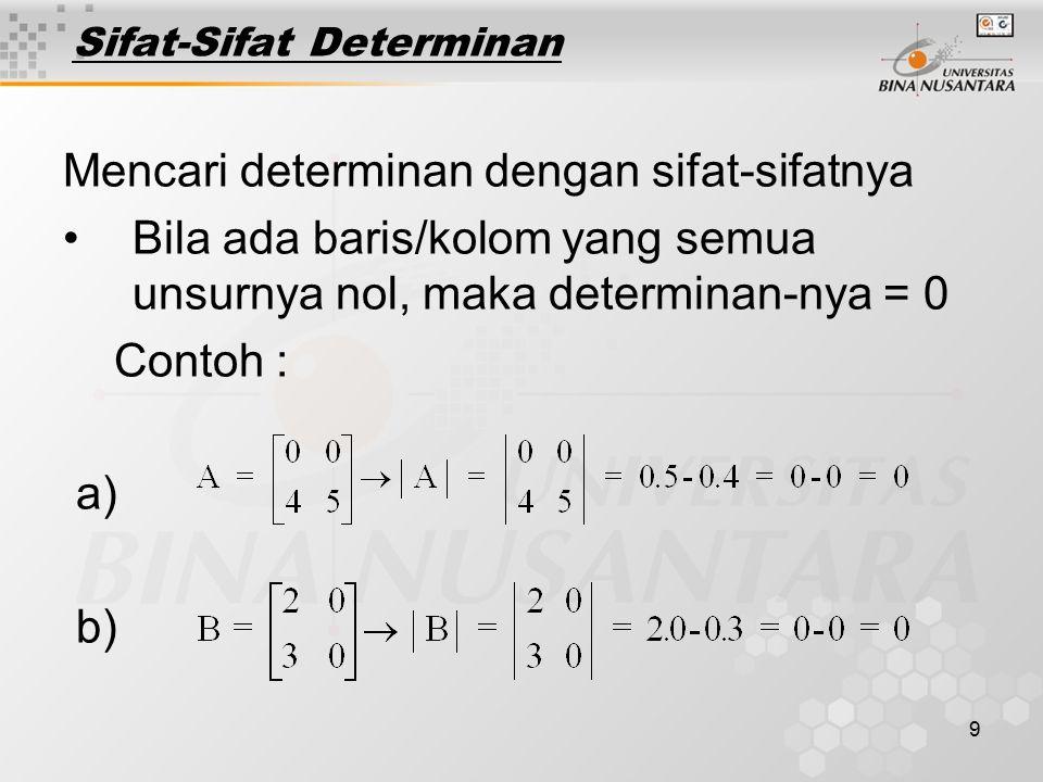 30 1.Matriks diekspansi pada Baris ke-1 : | A|= a 11.K 11 + a 12.