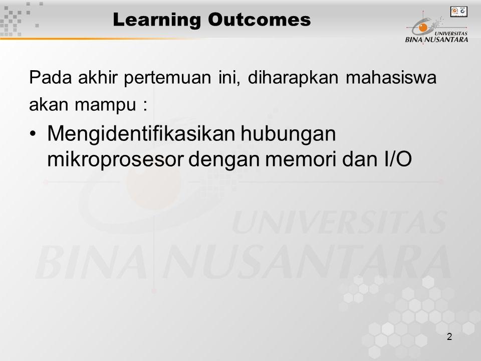 2 Learning Outcomes Pada akhir pertemuan ini, diharapkan mahasiswa akan mampu : Mengidentifikasikan hubungan mikroprosesor dengan memori dan I/O