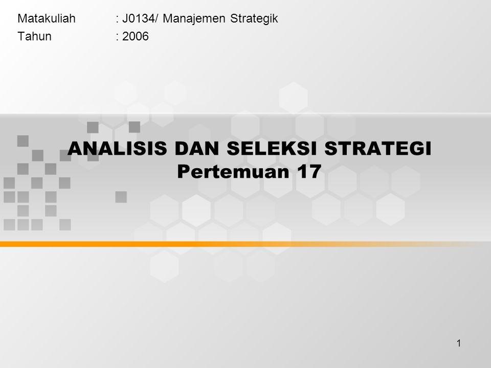 2 Penetapan LTO (Long Term Objectives) Penetapan strategi alternative Seleksi strategi Alternative strategi terbaik adalah alternative strategi untuk mencapai misi dan tujuan Dalam perumusan alternatif strategi: dibutuhkan partisipasi seluas mungkin pihak Nature of Strategy Analysis & Choice