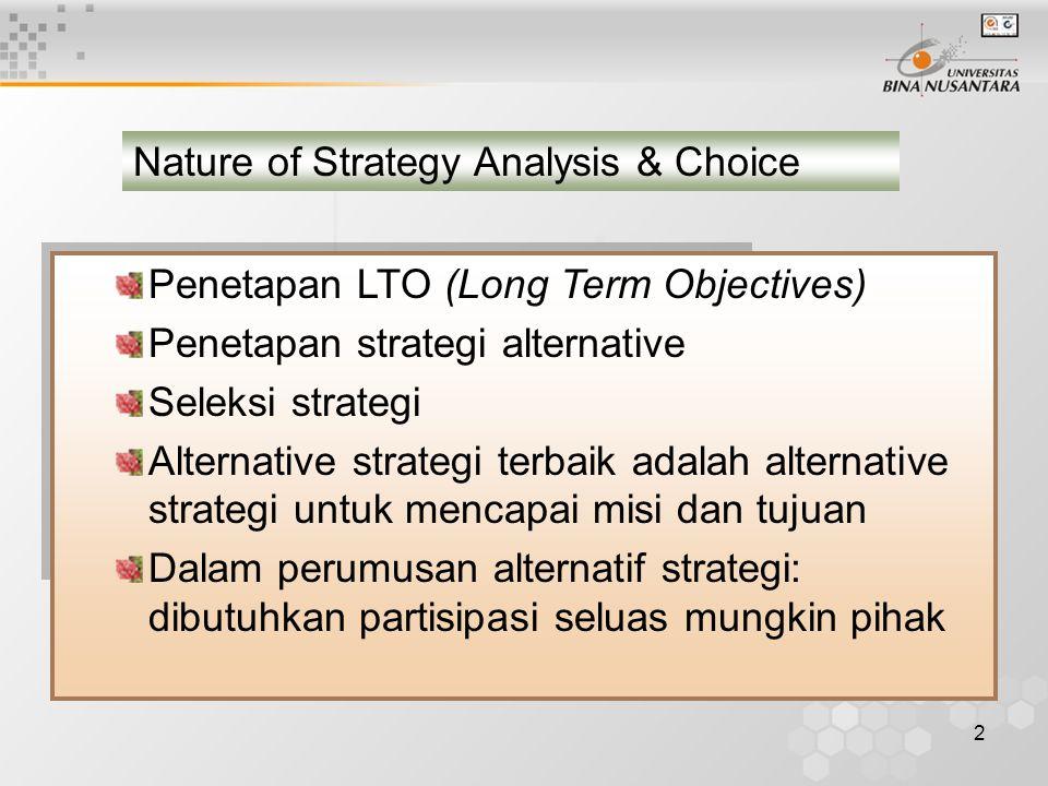 2 Penetapan LTO (Long Term Objectives) Penetapan strategi alternative Seleksi strategi Alternative strategi terbaik adalah alternative strategi untuk