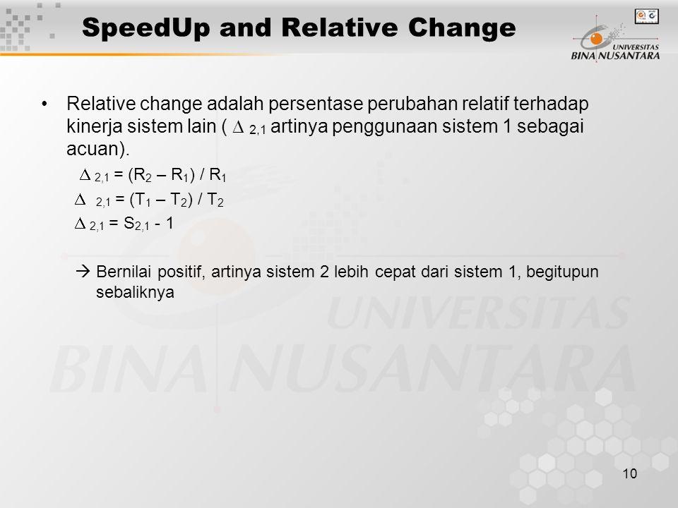 10 SpeedUp and Relative Change Relative change adalah persentase perubahan relatif terhadap kinerja sistem lain (  2,1 artinya penggunaan sistem 1 sebagai acuan).