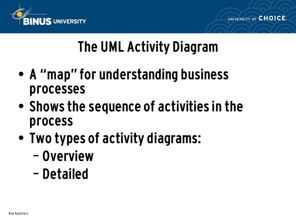 Bina Nusantara The UML Activity Diagram A map for understanding business processes Shows the sequence of activities in the process Two types of activity diagrams: – Overview – Detailed
