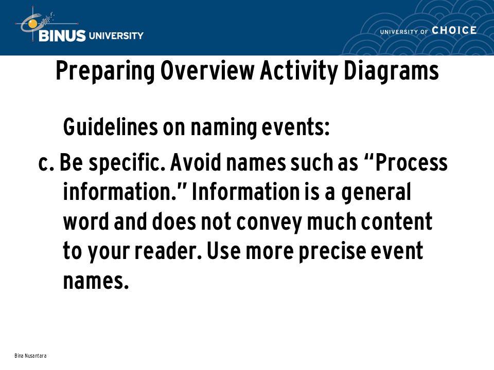 Bina Nusantara Preparing Overview Activity Diagrams Guidelines on naming events: c.