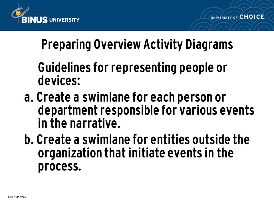 Bina Nusantara Preparing Overview Activity Diagrams Guidelines for representing people or devices: a. Create a swimlane for each person or department