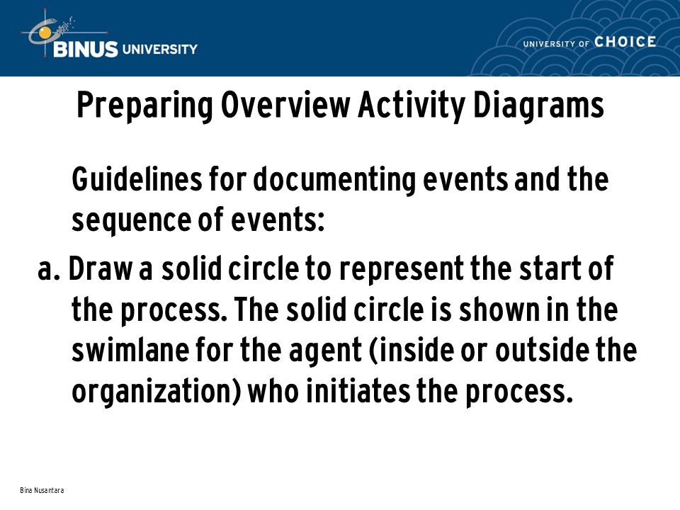 Bina Nusantara Preparing Overview Activity Diagrams Guidelines for documenting events and the sequence of events: a. Draw a solid circle to represent