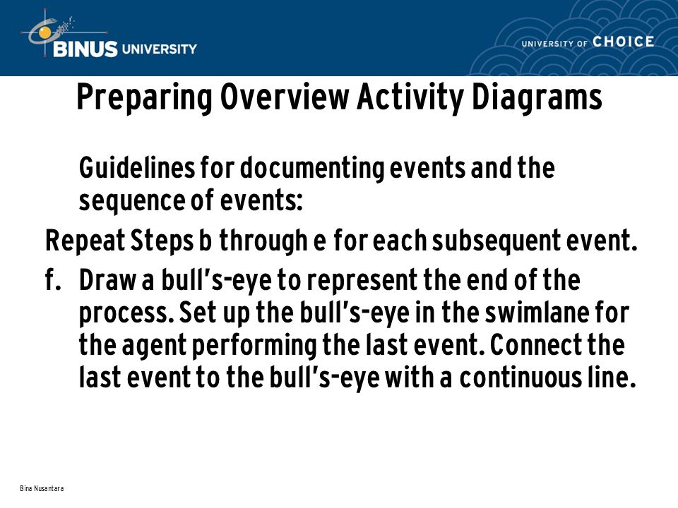 Bina Nusantara Preparing Overview Activity Diagrams Guidelines for documenting events and the sequence of events: Repeat Steps b through e for each subsequent event.