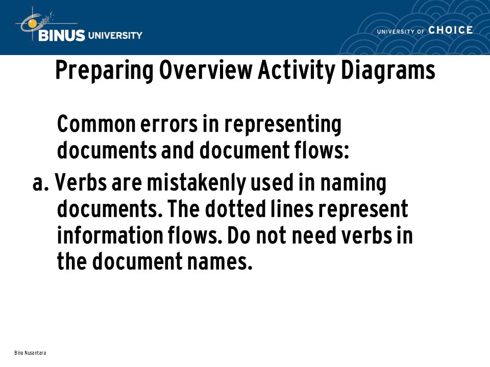 Bina Nusantara Preparing Overview Activity Diagrams Common errors in representing documents and document flows: a.