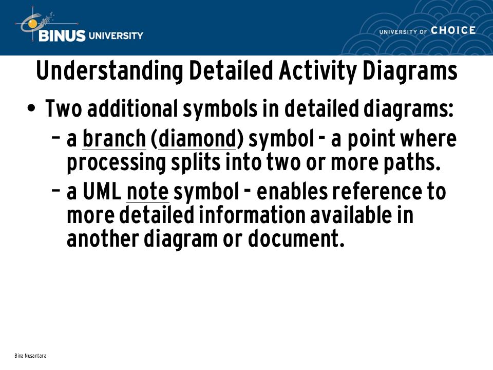 Bina Nusantara Understanding Detailed Activity Diagrams Two additional symbols in detailed diagrams: – a branch (diamond) symbol - a point where processing splits into two or more paths.