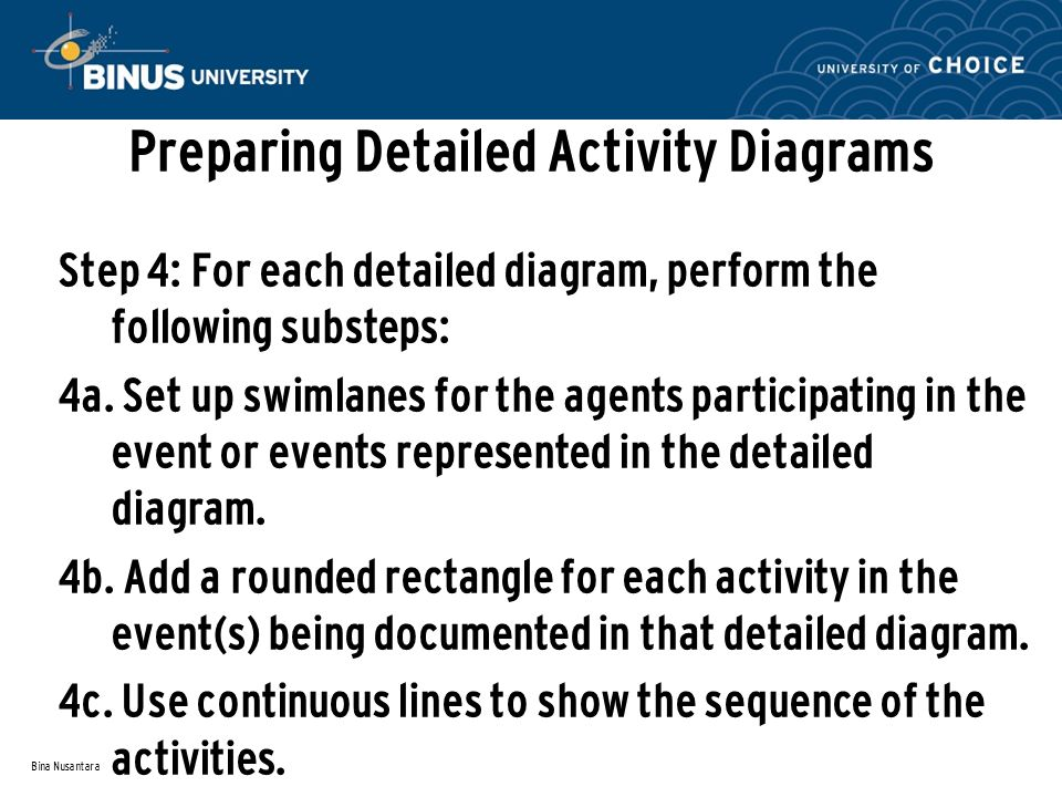 Bina Nusantara Preparing Detailed Activity Diagrams Step 4: For each detailed diagram, perform the following substeps: 4a. Set up swimlanes for the ag