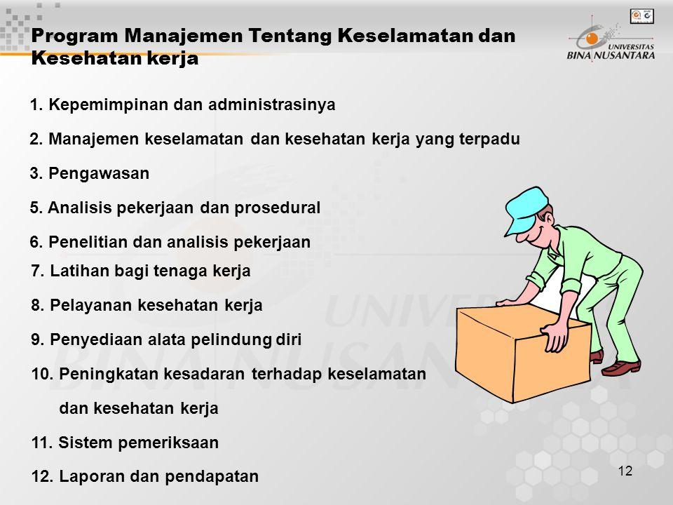 12 Program Manajemen Tentang Keselamatan dan Kesehatan kerja 1. Kepemimpinan dan administrasinya 2. Manajemen keselamatan dan kesehatan kerja yang ter