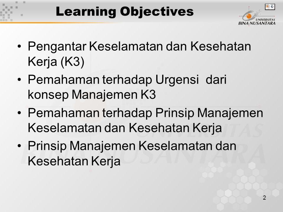 2 Learning Objectives Pengantar Keselamatan dan Kesehatan Kerja (K3) Pemahaman terhadap Urgensi dari konsep Manajemen K3 Pemahaman terhadap Prinsip Ma