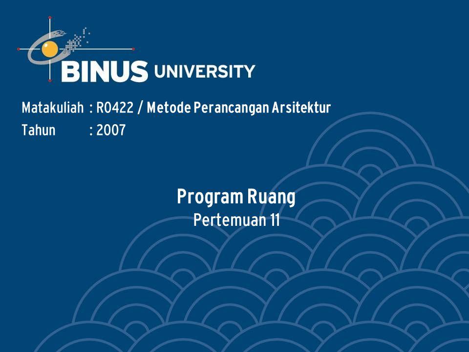 Bina Nusantara PROGRAM RUANG.