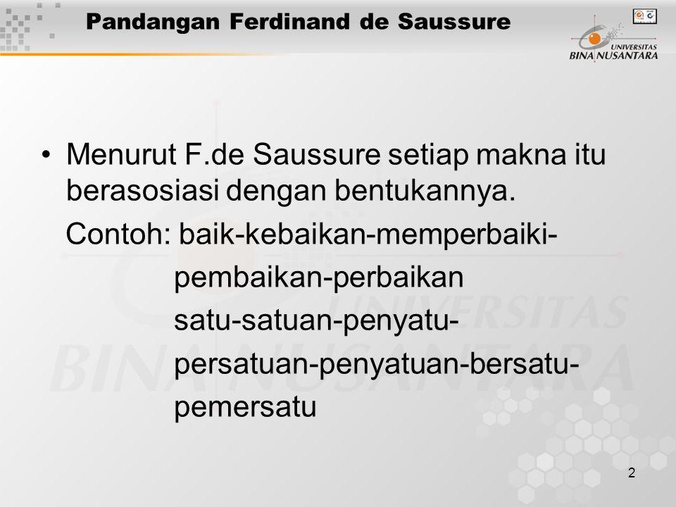 2 Pandangan Ferdinand de Saussure Menurut F.de Saussure setiap makna itu berasosiasi dengan bentukannya. Contoh: baik-kebaikan-memperbaiki- pembaikan-