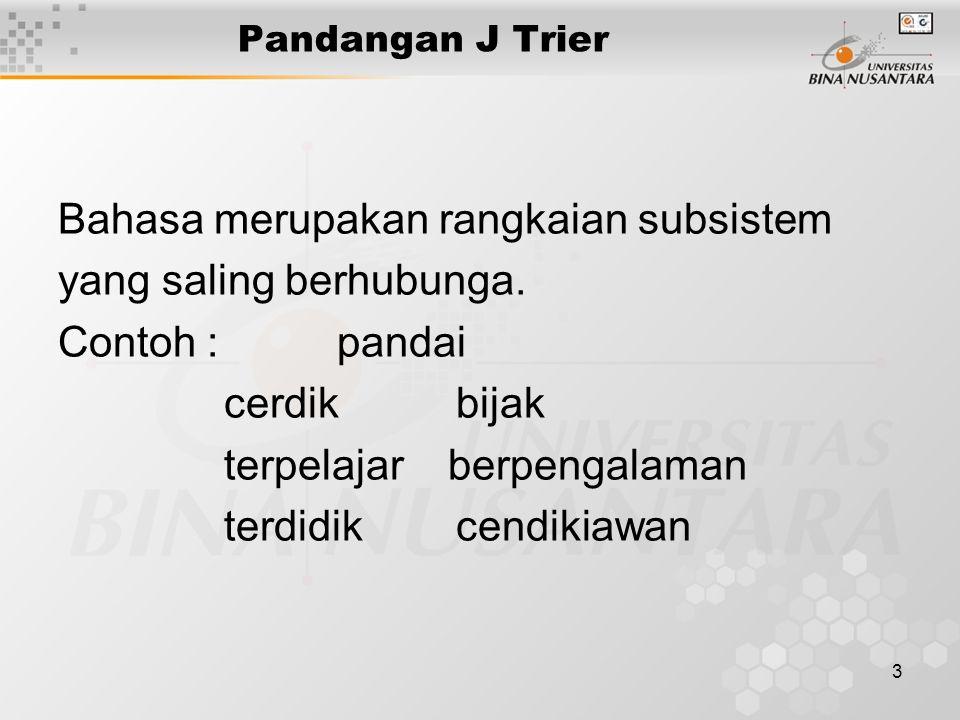 3 Pandangan J Trier Bahasa merupakan rangkaian subsistem yang saling berhubunga. Contoh : pandai cerdik bijak terpelajar berpengalaman terdidik cendik
