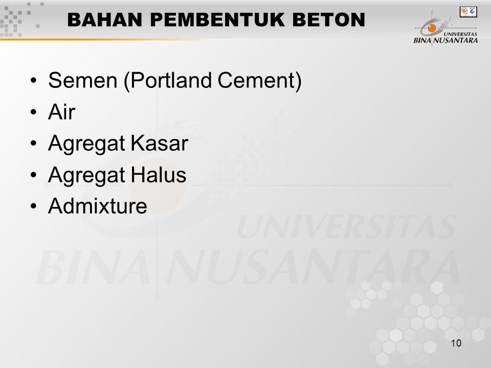 10 BAHAN PEMBENTUK BETON Semen (Portland Cement) Air Agregat Kasar Agregat Halus Admixture