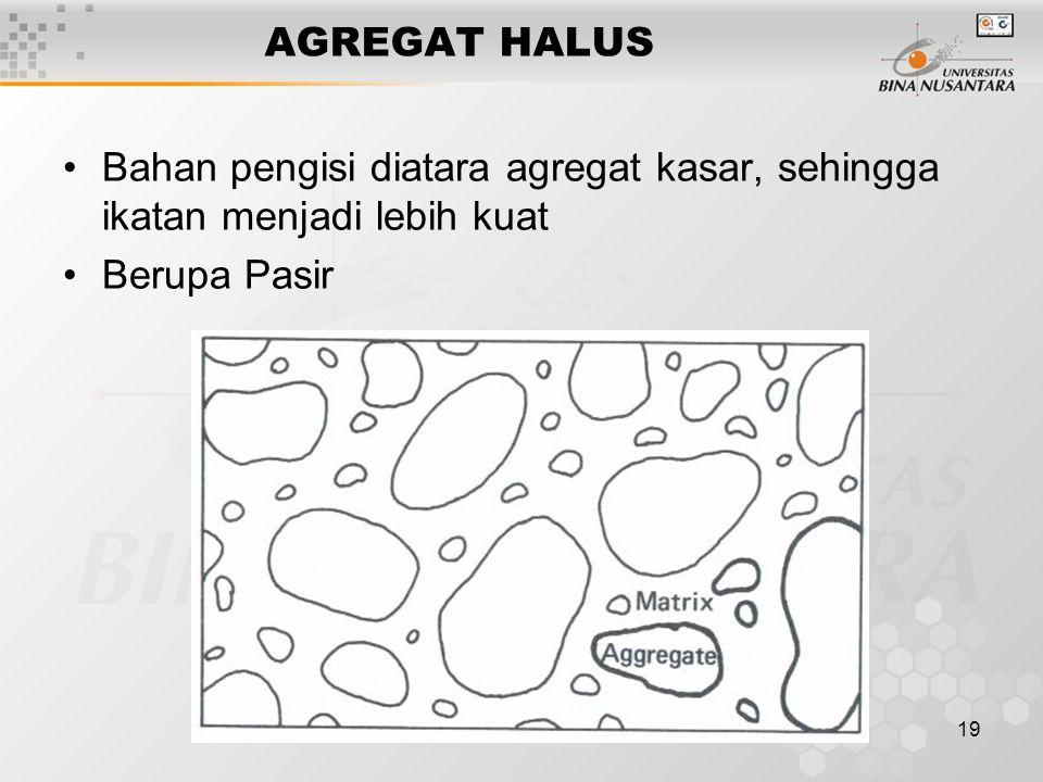 19 AGREGAT HALUS Bahan pengisi diatara agregat kasar, sehingga ikatan menjadi lebih kuat Berupa Pasir
