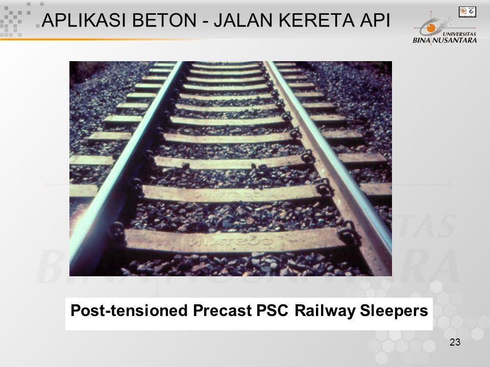23 APLIKASI BETON - JALAN KERETA API Post-tensioned Precast PSC Railway Sleepers