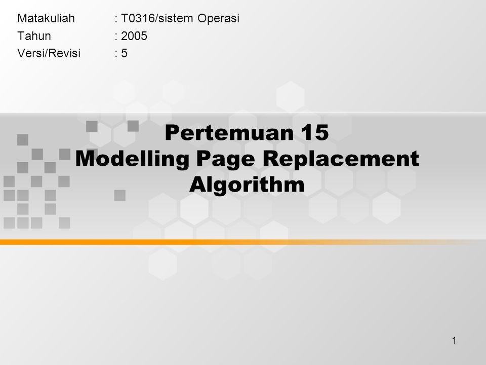 2 Learning Outcomes Pada akhir pertemuan ini, diharapkan mahasiswa akan mampu : menjelaskan permodelan algoritma pergantian page dan memprediksi page fault (C2)
