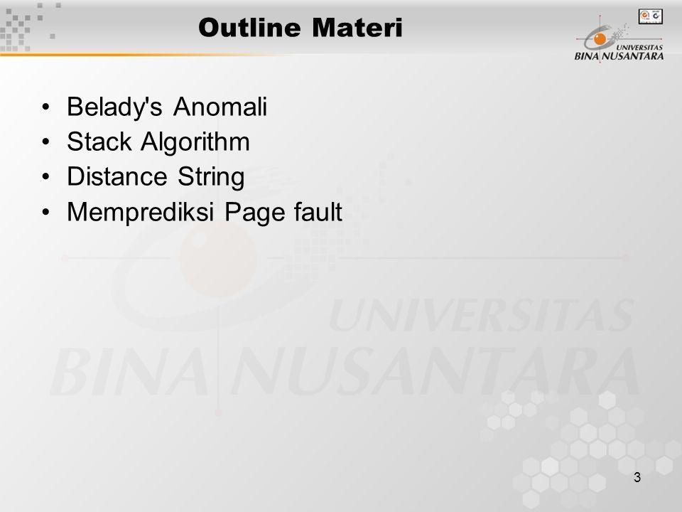 3 Outline Materi Belady's Anomali Stack Algorithm Distance String Memprediksi Page fault