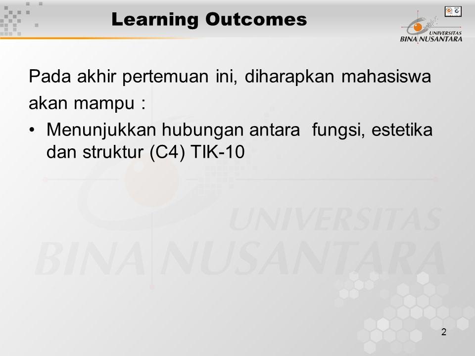 2 Learning Outcomes Pada akhir pertemuan ini, diharapkan mahasiswa akan mampu : Menunjukkan hubungan antara fungsi, estetika dan struktur (C4) TIK-10