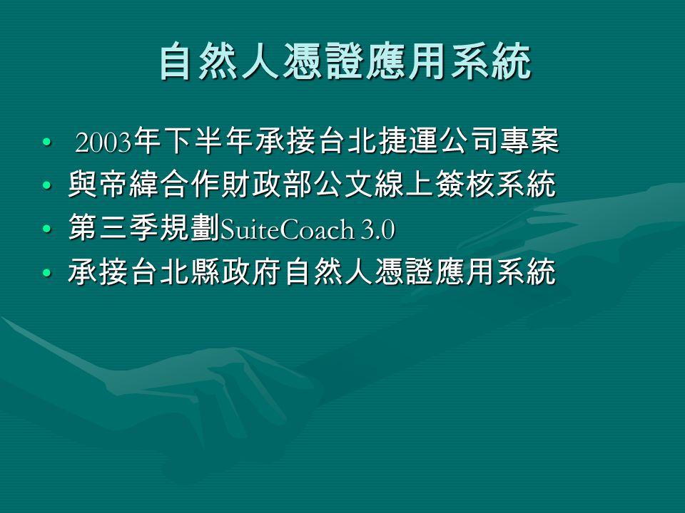 自然人憑證應用系統 2003 年下半年承接台北捷運公司專案 2003 年下半年承接台北捷運公司專案 與帝緯合作財政部公文線上簽核系統 與帝緯合作財政部公文線上簽核系統 第三季規劃 SuiteCoach 3.0 第三季規劃 SuiteCoach 3.0 承接台北縣政府自然人憑證應用系統 承接台北縣政府自然人憑證應用系統