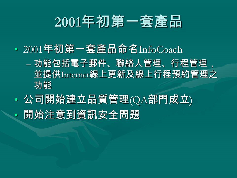 2001 年初第一套產品 2001 年初第一套產品命名 InfoCoach2001 年初第一套產品命名 InfoCoach – 功能包括電子郵件、聯絡人管理、行程管理, 並提供 Internet 線上更新及線上行程預約管理之 功能 公司開始建立品質管理 (QA 部門成立 ) 公司開始建立品質管理 (QA 部門成立 ) 開始注意到資訊安全問題 開始注意到資訊安全問題
