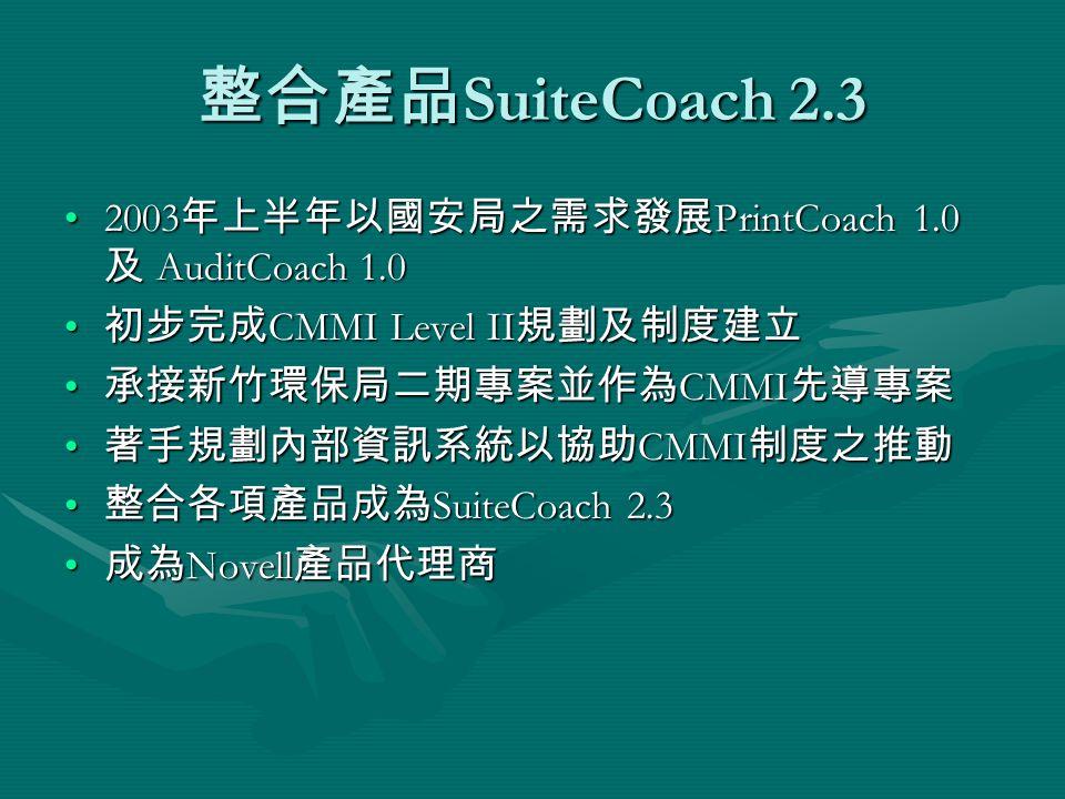 整合產品 SuiteCoach 2.3 2003 年上半年以國安局之需求發展 PrintCoach 1.0 及 AuditCoach 1.02003 年上半年以國安局之需求發展 PrintCoach 1.0 及 AuditCoach 1.0 初步完成 CMMI Level II 規劃及制度建立 初步完成 CMMI Level II 規劃及制度建立 承接新竹環保局二期專案並作為 CMMI 先導專案 承接新竹環保局二期專案並作為 CMMI 先導專案 著手規劃內部資訊系統以協助 CMMI 制度之推動 著手規劃內部資訊系統以協助 CMMI 制度之推動 整合各項產品成為 SuiteCoach 2.3 整合各項產品成為 SuiteCoach 2.3 成為 Novell 產品代理商 成為 Novell 產品代理商